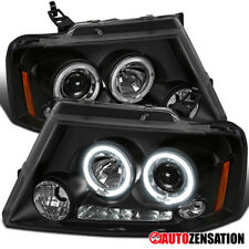 04-08 Ford F150 06-08 Lincoln Mark LT Black LED DRL Halo Projector Headlights