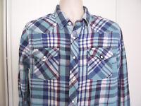 ROEBUCK & CO Mens LARGE Flannel Shirt Blue Plaid WESTERN Pearl Snap
