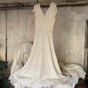 Vintage 1930s White Cotton Floral Lace Maxi Dress Sleeveless V Back Bridal Sheer