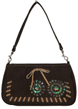 Chocolate Brown Genuine Suede Leather Bag Beads Sequins Bag 9.75 x 5.5 x 2 NWOT