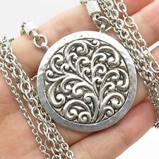 """Lois Hill Vtg 925 Sterling Silver Multi Strand Chain Round Pendant Necklace 16"""""""
