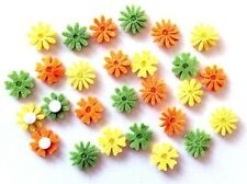27 Felt Flowers Orange, Green & Yellow Embellishments New
