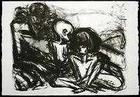 """DDR-Kunst """"Mann mit Kindern"""" 1989 Lithogr Ellen FUHR (1958-2017 D), handsigniert"""