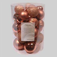 Set 12 palle palline plastica oro e rame d 7 cm addobbi albero natale