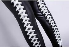 Women leather pants Ds costume punk rock sexy bandage High-waist tight trousers