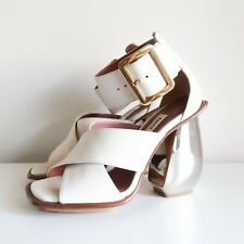 BN BALLY 'jacinte' leather mirror chunky heels cream silver sandals gold 37