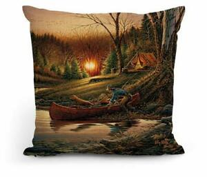 """Morning Solitude 18"""" Decorative Pillow by Terry Redlin"""