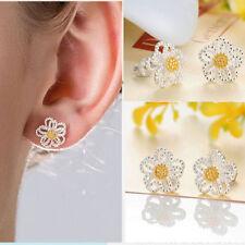New Women Jewelry 925 Sterling Silver Daisy Flower Sunflower Ear Stud Earrings