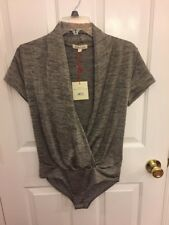 New NWT Rolla Coster BODYSUIT Top Women's Size Large Gold and Black Drape Neck