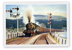 MAGNIFICENT MOUNTED RAILWAY PRINT GWR TRAIN BARMOUTH JUNCTION 1947 AGE OF STEAM