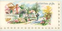 VINTAGE SPRING SEASON GARDEN HOUSE FLOWERS MAILBOX PRESENT MAILMAN CARD PRINT