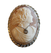 Gold diamond Cameo Pendant Brooch Antique High Relief 14k White