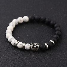 Men's Rock Lava Howlite Owl Head 8MM Natural Stone Bracelets Charm Jewelry Gift