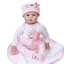 IN UK 22'' Realistic Newborn Doll LifeCute Baby Girl Silicone Vinyl Reborn Dolls