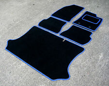 Car Mats in Black with Blue Trim to fit Ford Fiesta (2002-2008) + Boot Mat
