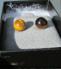 14kt yellow gold 8mm round tiger eye earrings