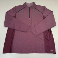 C9 By Champion Duo Dry Jacket Mens 2XL Burgundy Quarter Zip Striped Activewear