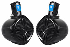 "Pair Rockville RWB65B 6.5"" Black 2 Way 250 Watt Marine Wakeboard Tower Speakers"