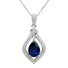 Women Sterling Silver Pendant Necklace 18-inch 7x10 Pear Simulated Blue Sapphire