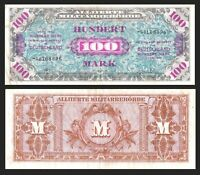 1944 WWII Germany Allied Occupation Military Currency 100 Mark Banknote - p197