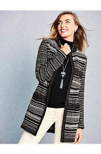 NEW $199 TALBOTS Black Mixed Stitch Sparkle Sweater Coat, Topper Sz L ( 14,16 )