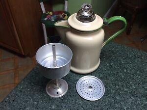 Vintage Cream Green Enamelware Coffee Pot Percolator