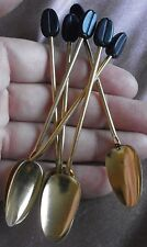 """6 petites cuillères à moka vintage en alu doré &  motif """" grain de café """""""