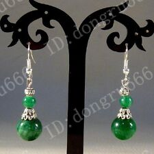 Fashion Unique Tibetan Tibetan Silver Malachite Green Beads Earrings AAA645