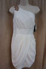 Aqua Dress Sz 10 Ivory Chiffon One Shoulder Embellished Short Cocktail Dress