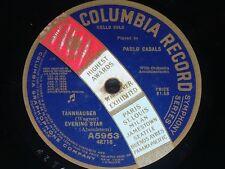 CELLO 78 rpm RECORD Regal PAU CASALS Quintette MOZART Tannhauser WAGNER