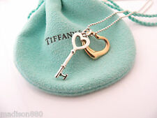 Tiffany Co Silver 18K Gold Open Heart Key Necklace Pendant Charm Chain