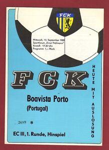 Orig.PRG   UEFA Cup  89/90   FC KARL MARX STADT - BOAVISTA PORTO  !!  RARE