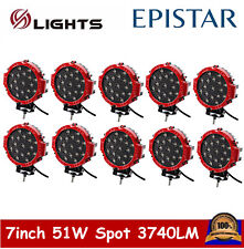 10X 51W Red Round OffRoad Led Work Light Spot for Jeep Truck Bumper Driving Lamp