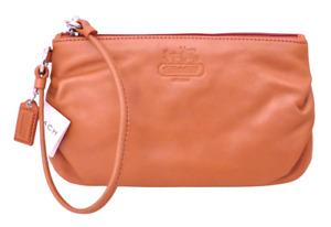 New NWT Coach Ali Tangerine Orange Leather XL Wristlet Clutch Purse 42647 RARE
