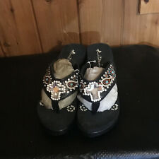 Montana West Paisley Flip Flops /Sandals with Rhinestone Cross size: 9