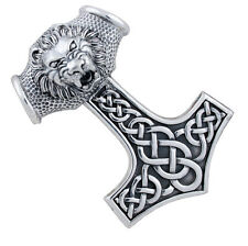 Thor hammer very large pendant viking celtic jewelry 925 sterling silver, b419