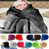 Luxury Mink Faux Fur Throws Plain Fleece Super Soft Blanket Snuggle Warm Quilt