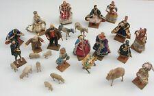 15 St. Wachs Textil Krippenfiguren (Gr.10-16cm) 10 St.Tiere ~19.Jh. Weihnachten