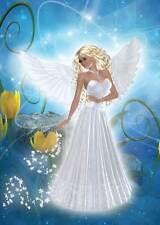Blue Angel Girls Birthday Card women girls delightfully pretty bright & cheery