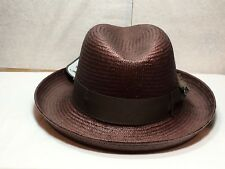 With Tag Stacy Adams SA 371 Godfather Men's Straw Summer Hat White Navy BLK L Redwood Brown