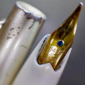 PLATINUM 14K White Fountain Pen PLATINUM 14K Gold EF Nib New Ink Cart Serviced