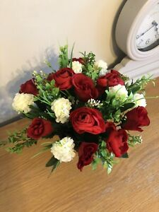 Artificial Flower Grave Pot Arrangement Handmade To Order In Ted And cream