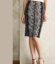 24. ANTHROPOLOGIE Byron Lars Sombra Laser Cut Pencil Skirt Black & White Size 6