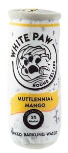 "Fun Parody Dog Toy, White Paw Muttlennial Mango Hound Seltzer Plush Dog Toy, 7"""