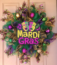 Mardi Gras Decor Wreath with Awesome Glittered Sign, Green Mesh, Ball Ornaments