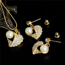 Women Elegant Gold Plated Rhinestone Crystal Pearl Necklace Earrings Jewelry Set