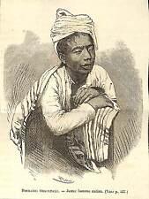 BIRMANIE BURMA MYANMAR JEUNE HOMME KAREN KARIANG GRAVURE IMAGE 1875