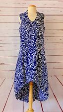 NIC+ZOE Womens Size M Printed 100% Linen Sleeveless Asymmteric Midi Dress Blue