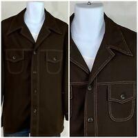 Vintage 60s 70s Double Knit Brown Shirt Jacket Pimp Disco Dagger Collar 42L