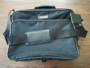 Lands End Laptop Bag Black Canvas Work Bag w/Shoulder strap